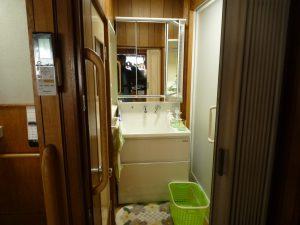 ハイバックカウンター洗面化粧台 裏面収納3面鏡