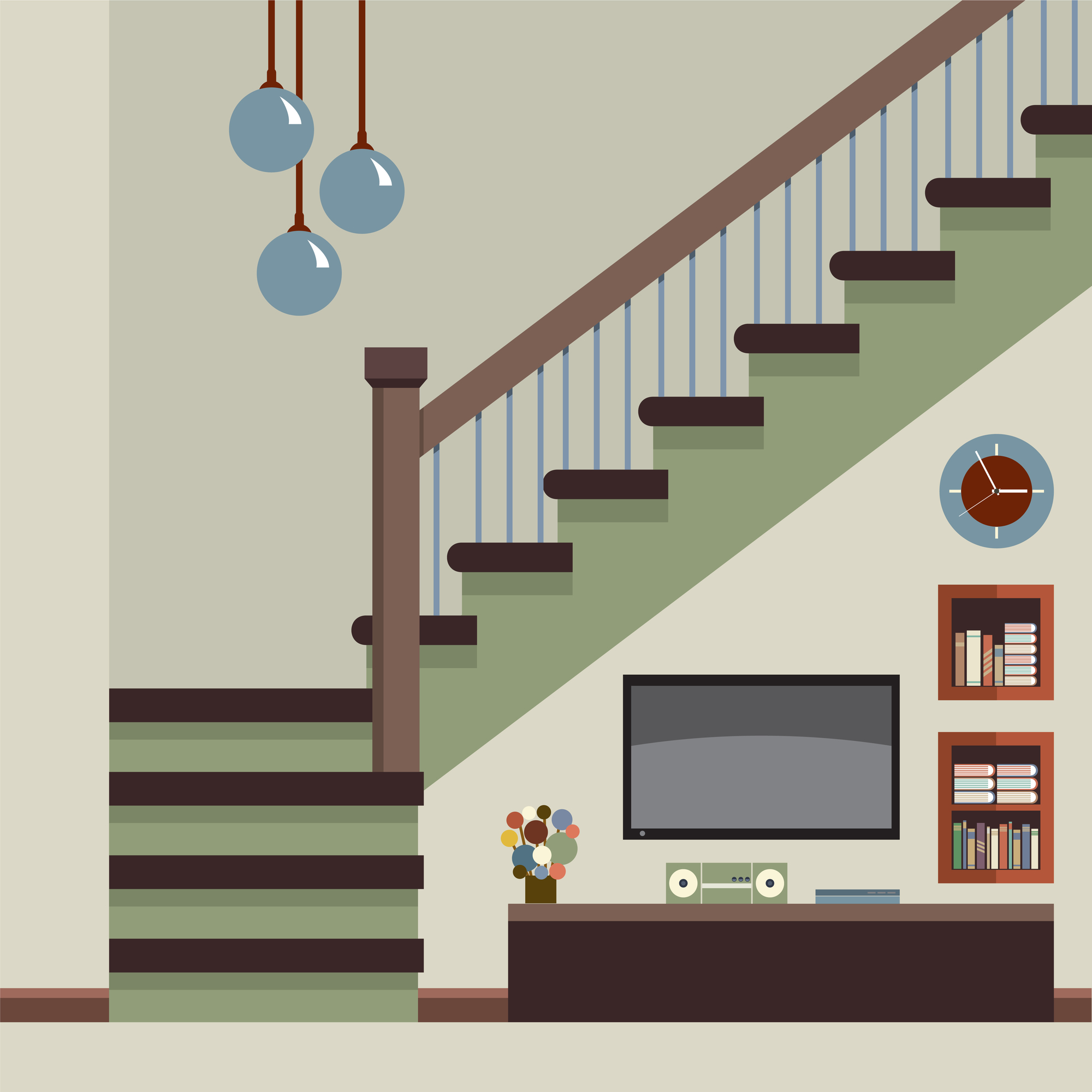 平坦な踊り場がある階段