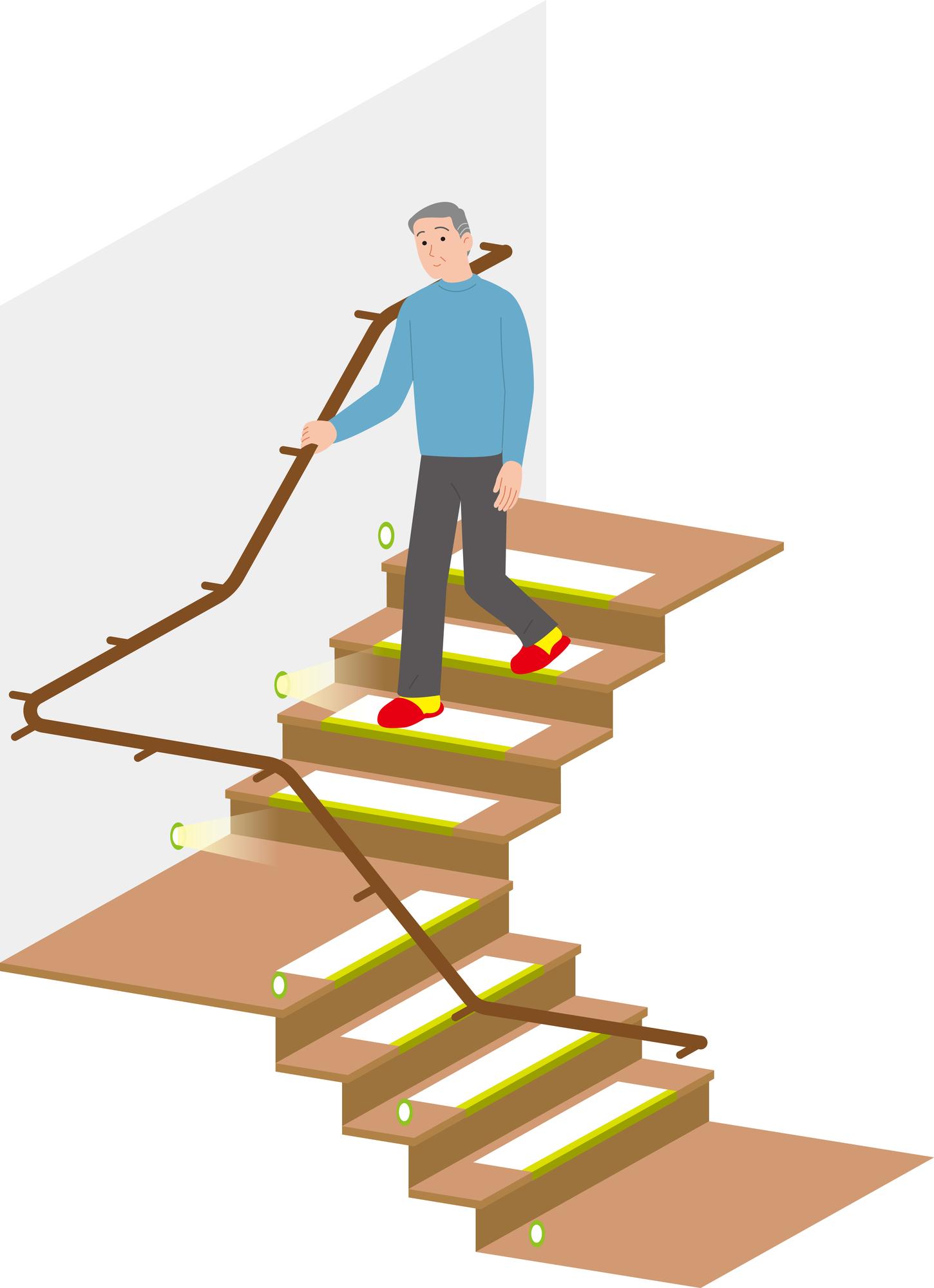 外回り手すりと平坦な踊り場の安全性の高い階段