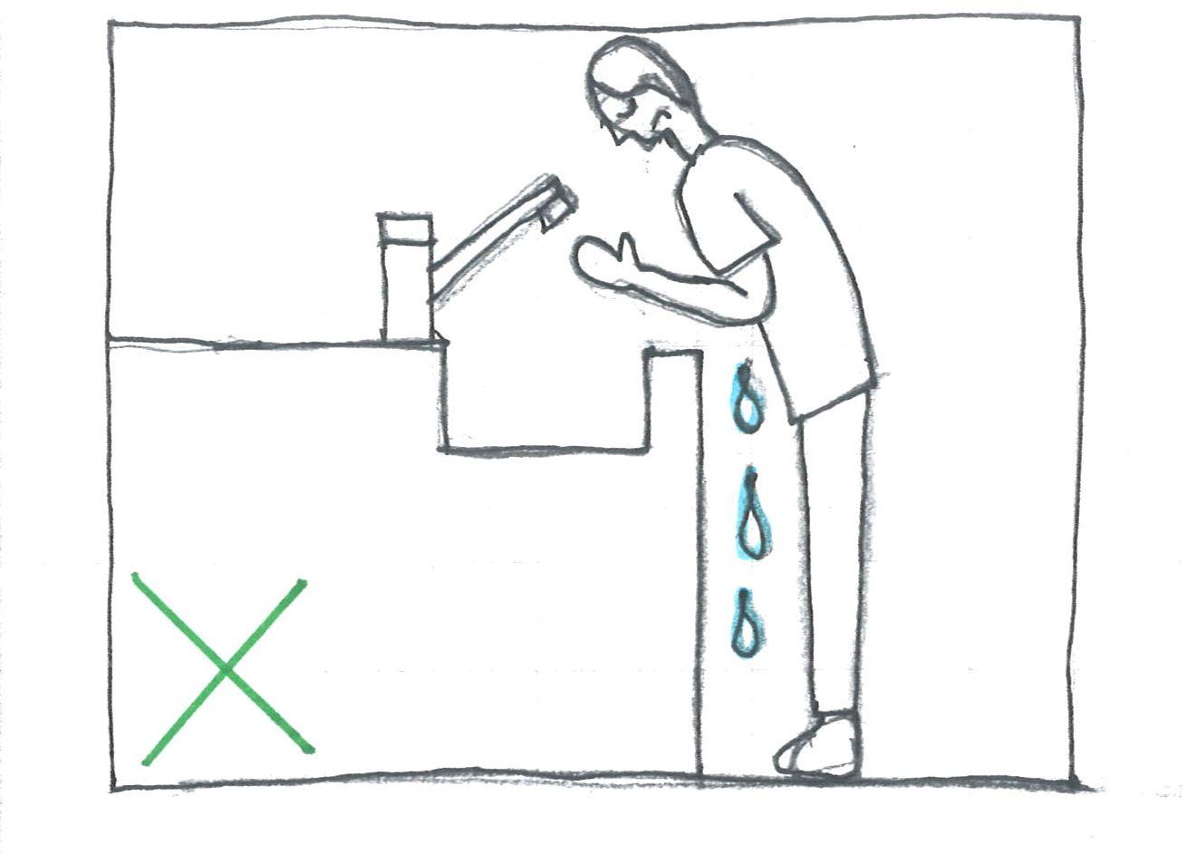 水が落ちる洗面器