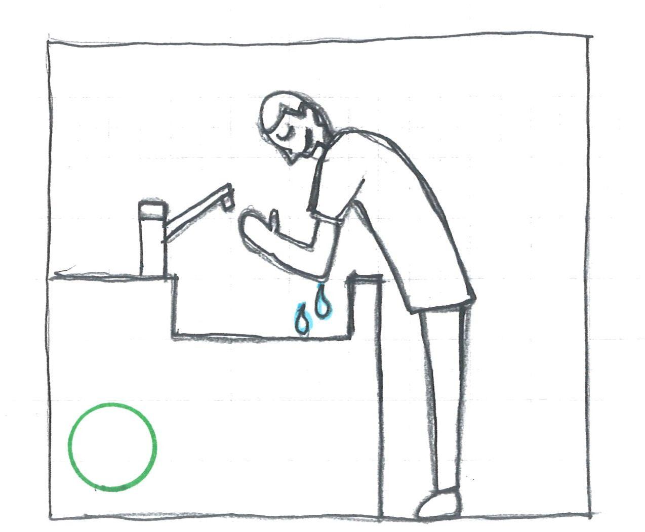 肘が収まる洗面器