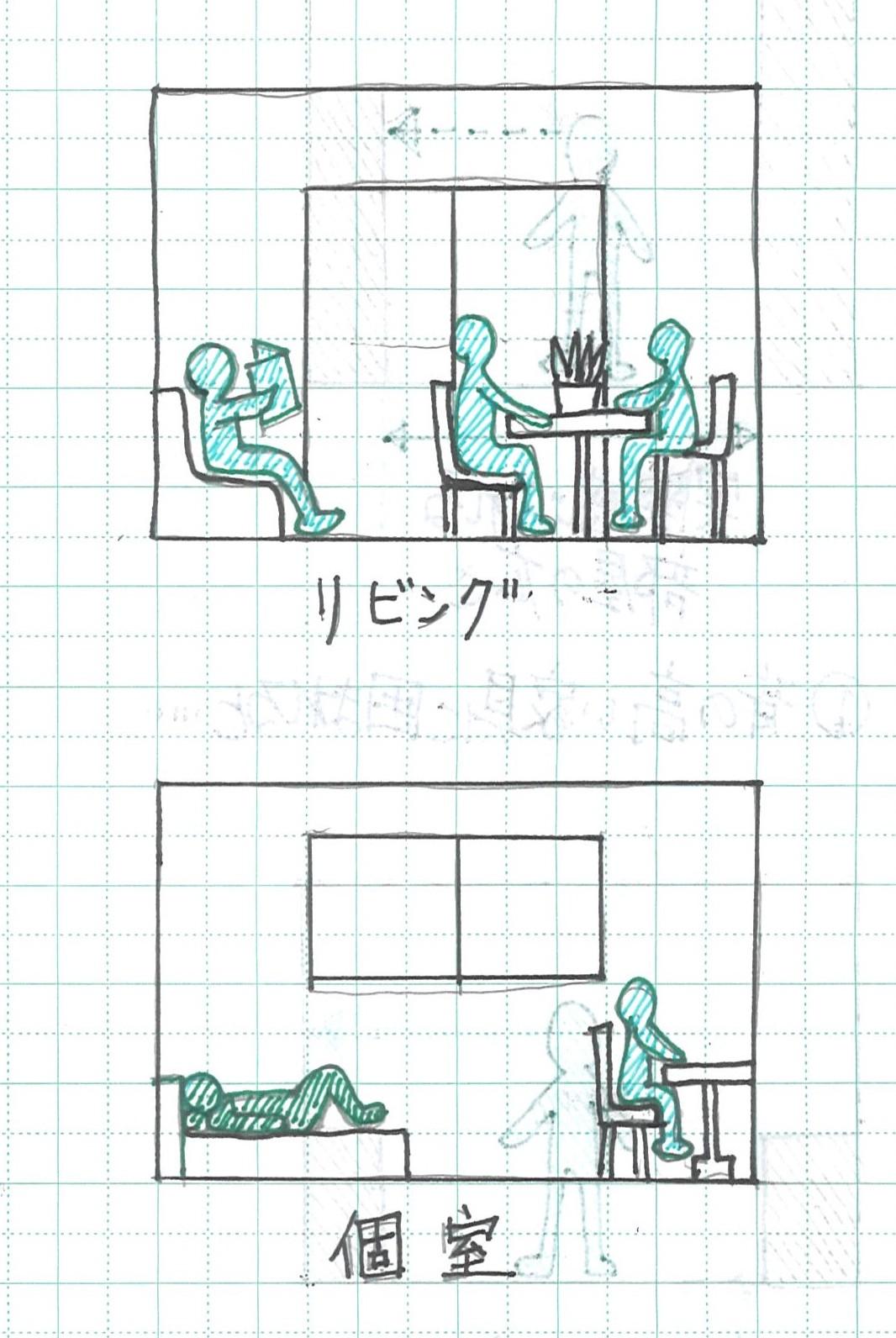 個室とリビング