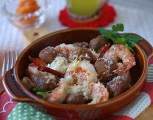 マッシュルームと海老のオイル焼き