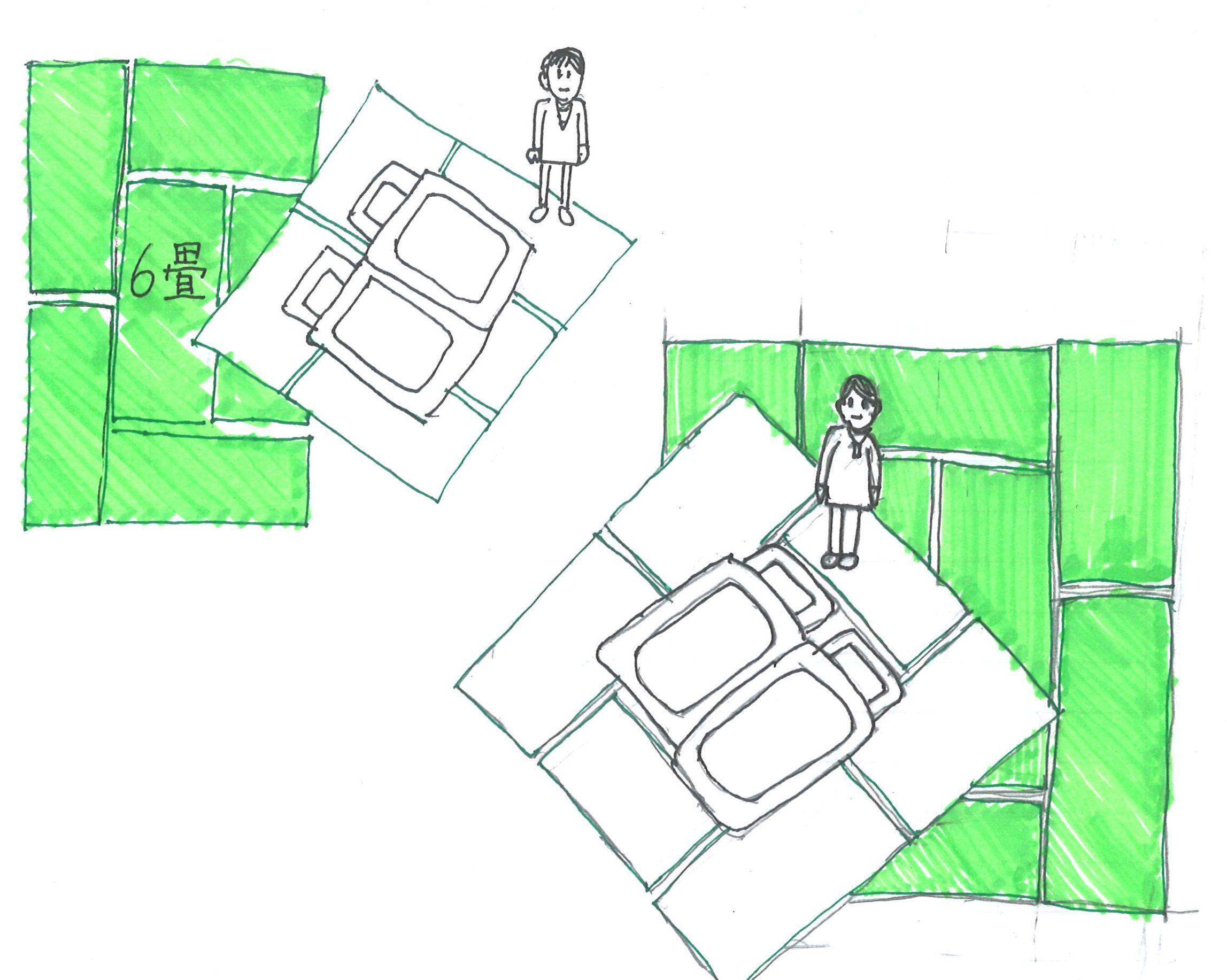 寝室のサイズと布団の配置