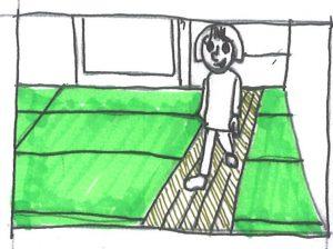 畳に通過動線 昼は歩行用