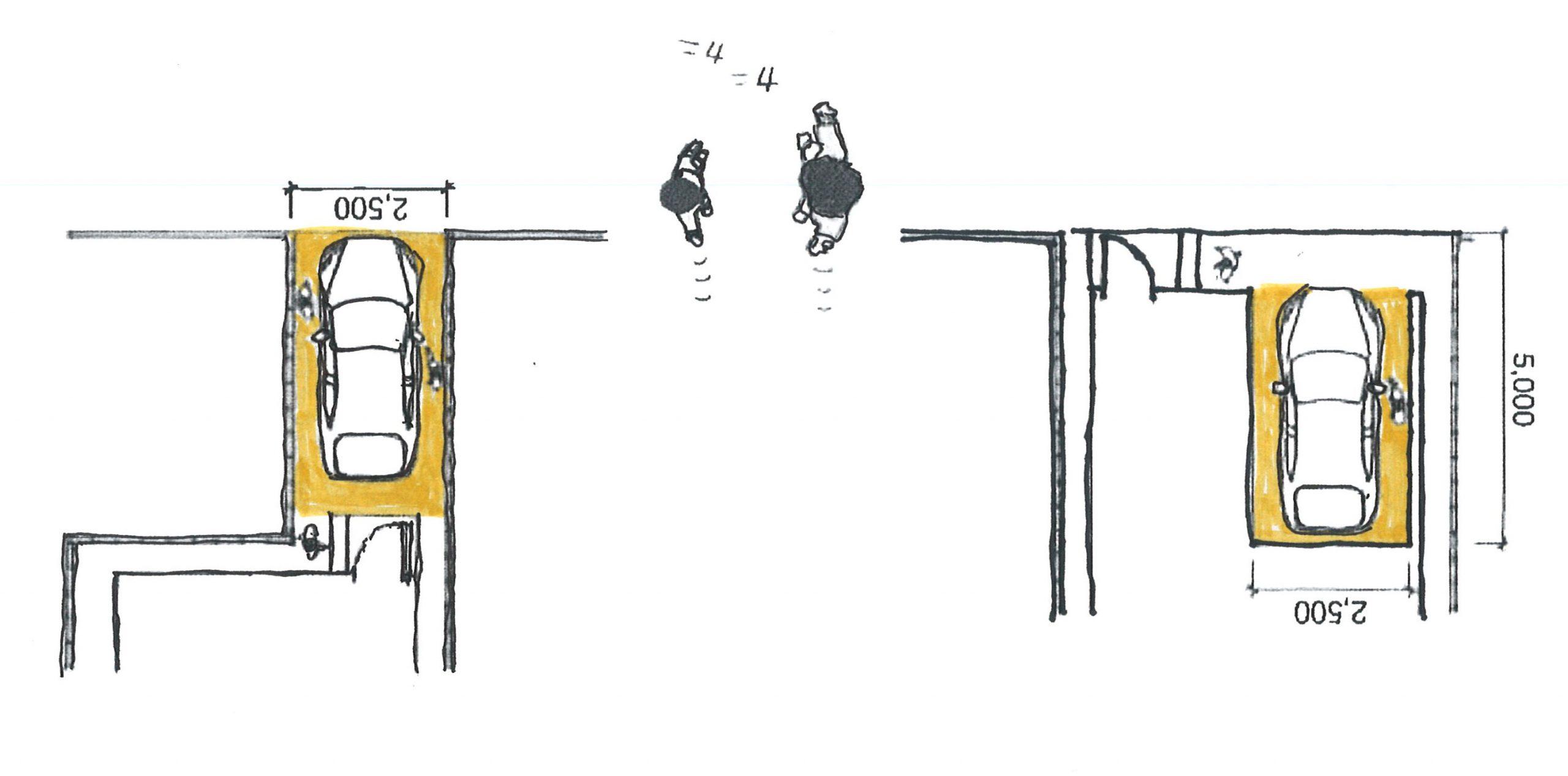 カニ歩きをさせられる駐車場